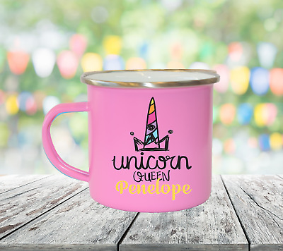 Personalised Unicorn Queen Enamel Mugs Girl Gifts Birthday Christmas Gifts