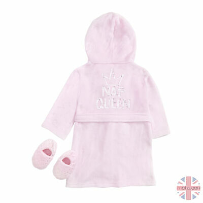 Childrens Girls Sequin Dressing Gown Robe & Plush Star Slipper Set 2-6 Years UK