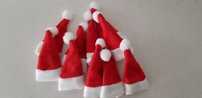 10 Small  Santa Hats - Kids Lollipop Hat or dolls Holiday Decoration