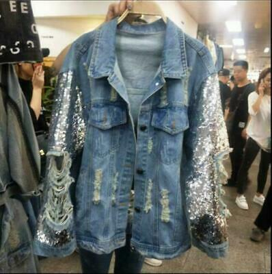Womens Ladies Stylish Sequin Ripped Hole Denim Jeans Loose Jacket Coat Outwear