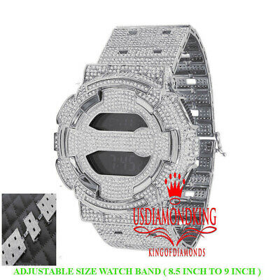 Custom Casio G-Shock GD100 White Gold Watch Simulated Diamonds Adjustable Band