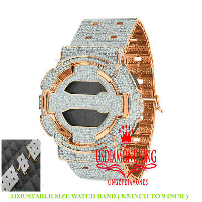 Icy Custom Casio G-Shock GD100 Rose Gold Watch Simulated Diamond Adjustable Band