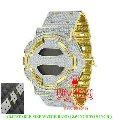 Mens Icy Custom Casio G-Shock GD100 Gold Watch Simulated Diamond Adjustable Band