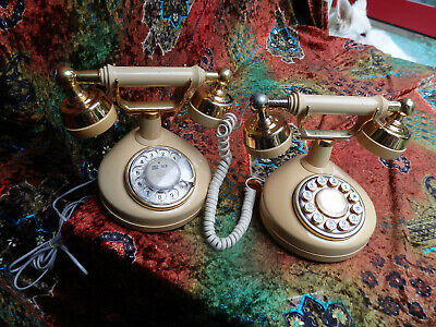 Two Western Electric Princess Rotary Dial French Desk Phone Bell Ivory Brass