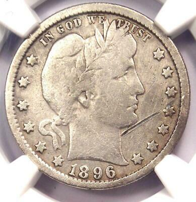 1896-S Barber Quarter 25C - NGC VG Details - Rare Key Date Certified Coin!