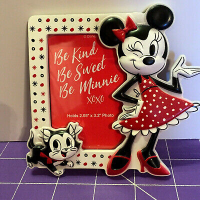 """Disney Parks Be Minnie Mouse & Figaro Magnetic Photo Frame 2"""" x 3.2"""" Acrylic NEW"""