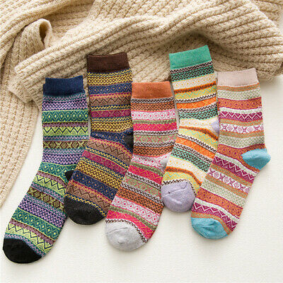 5 Pairs Womens Wool Cashmere Thick Sock Soft Warm Casual Sports Winter Socks Lot