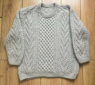 Mans Aran Jumper L Grey Wool 48 Sweater Hand knit Pullover Cable 122 cm L Paddys