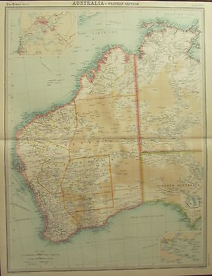 1922 Large Antique Map ~ Western Australia ~ Inset Perth Environs