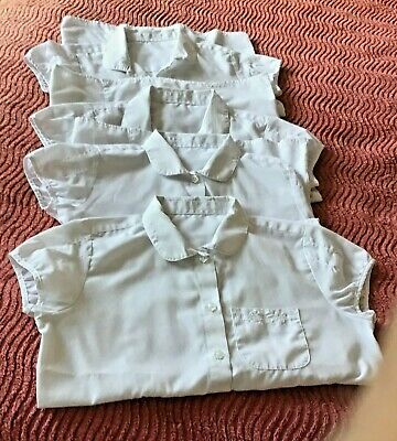 Bundle Of Four  F&F White Short Sleeved School Blouses, To Fit Girl 8-9 Years
