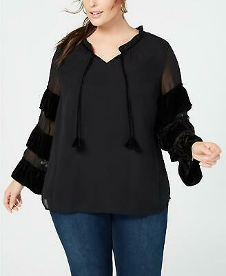 Style & Co Womens Ladies Plus Size Black Velvet-Illusion Sleeve Top 3X