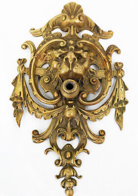 RARE Antique 19th Century Brass Gas Light Wall Sconce Figural Lion Head STUNNING