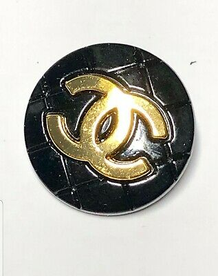 1 Chanel CC Logo Authentic Black & Gold buttons 20 mm  New Shiny, GIFT