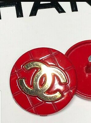 1 Chanel CC Logo Authentic Red & Gold buttons 20 mm  New Shiny, GIFT