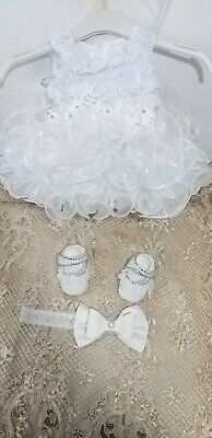 Christening baby Dress bouncy curly white roses dress set with shoe and headband