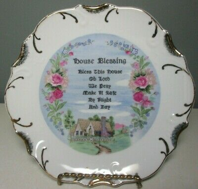 """Vintage """"HOUSE BLESSING"""" 8"""" Collector Plate ~ 18k Gold Trim"""