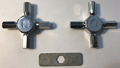 2 H Hot C Cold Vintage Water Sink Tub Faucet Cross Handles Chrome - ITALY - Kit5