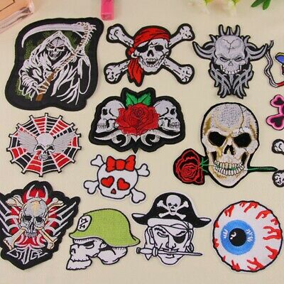 Embroidered Skull Patches Iron Sew On Patches Transfers Badges Appliques Pattern