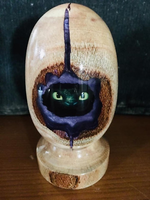 Toothless Baby Dragon Egg, Oak Wood and Violet Resin,fantasy,movie character egg