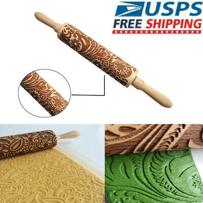 Wooden Rolling Pin Baking Cookie Textured Embossing Fondant Cake Roller Tools US