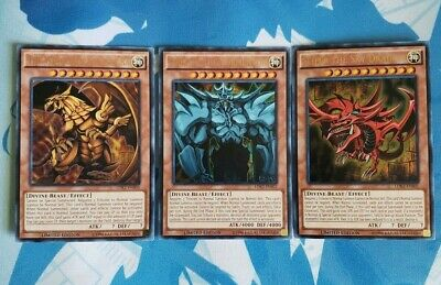 The Winged Dragon of Ra + Obelisk the Tormentor + Slifer the Sky Dragon - YuGiOh