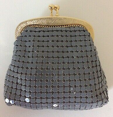 Glowmesh Purse Silver Grey Gold Hardware Genuine Vintage NEVER USED ❤️