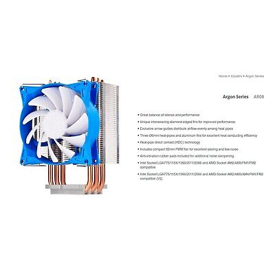 Silverstone Ar08 92Mm Pwm 3 Heatpipe Cpu Cooler, Compatible 2011, 2066, 1150,