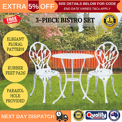 3 Pcs Garden Table And Chair Bistro Set Outdoor Elegant Dining Cast Iron White