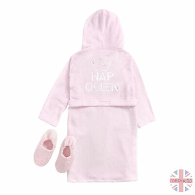 Childrens Girls Queen Pink Sequin Dressing Gown Robe & Plush Slipper Set 7-13 UK