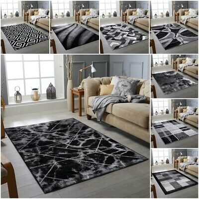 New Modern Silver Grey Black Small Large High Quality Thick Pile Rug On Sale
