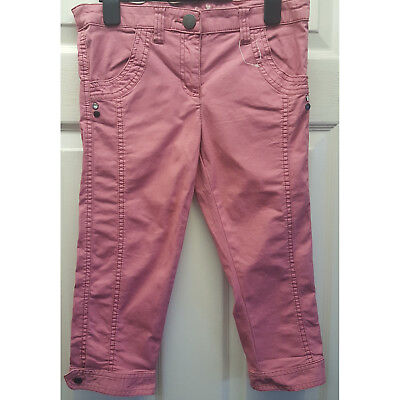 Girls Cherokee Pink Crop 3/4 Length Jeans Adjustable Waist 9-10 Years