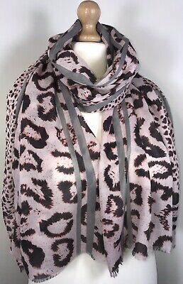 Leopard Print Scarf Pashmina Pink Grey Cotton Viscose Oversized Long Soft NEW
