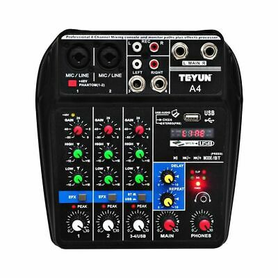 4 Channels Audio Mixer Sound Mixing Console Bluetooth Record 48V for Live Stage