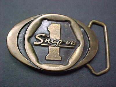 Estate New Old Stock Solid Brass Snap on Tools Belt Buckle Made In USA