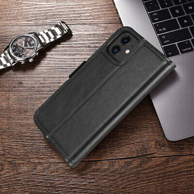 Genuine Leather Folio Flip Wallet Case Cover For Apple iPhone 11