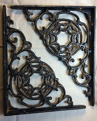 SET OF 4 SPIDERWEB CAST IRON SHELF BRACE BRACKETS rustic black finish