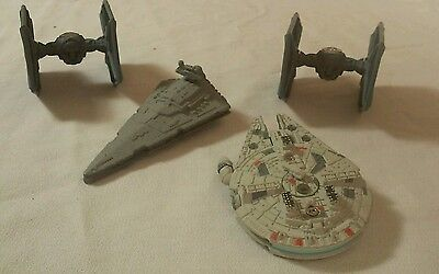 Disney's Star Wars Die Cast Ships Millennium Falcon 2Tie Fighters Star Destroyer
