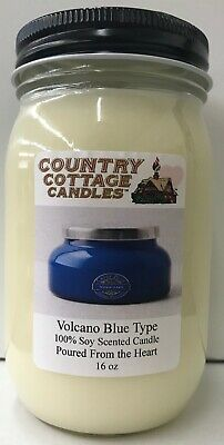 16 oz Hand Poured Soy Candle Volcano Capri Blue (Type).FREE SHIPPING