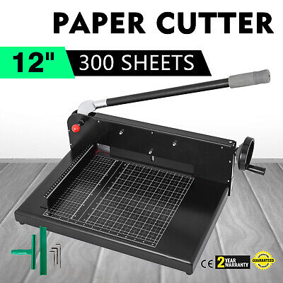 "12"" Width Guillotine Paper Cutter Heavy Duty Stack Paper Trimmer Metal + Steel"