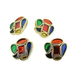 4 vtg retro gold tone unusual shaped red blue green yellow buttons 22mm