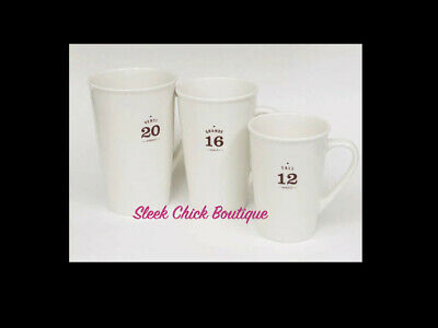 NEW Set of 3 STARBUCKS 12-16-20 Ounce Tall Grande VENTI White 2010 Coffee Mugs