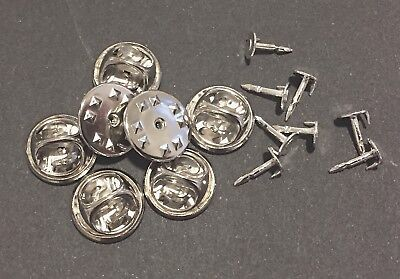 25 x SILVER PLATED BUTTERFLY CLUTCH CLASPS + 25 x SILVER PLATED BACKING PINS