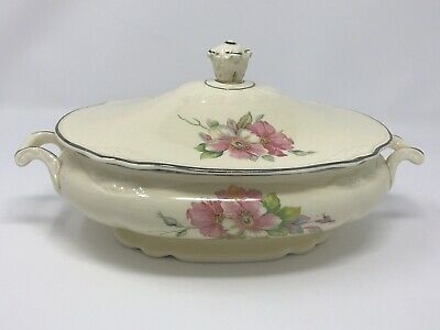 Homer Laughlin Virginia Rose Gold Rose Oval Casserole Serving Bowl Covered Dish