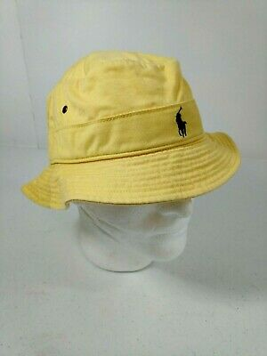 Polo Ralph Lauren Bucket Hat Beach Fishing Casual Vented Size S/M Yellow Cotton