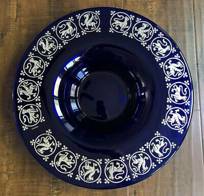 Large Egizia Argento Silver Overlay Cobalt Glass Bowl Lions Gryphons Italy