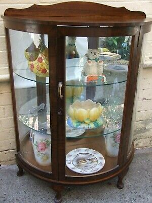 Antique Australian Art Deco Walnut China Cabinet Curved Glass Vintage 1930's