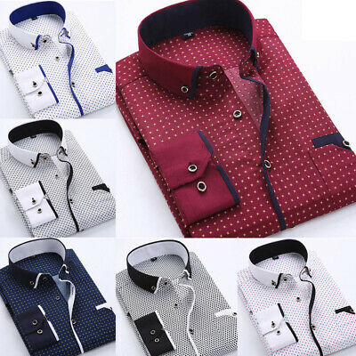Luxury Mens Business Shirts Casual Formal Slim Fit Long Sleeve Dress Shirt Tops