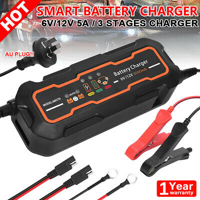 5A Smart Battery Charger 12V/6V Automatic SLA Car Boat Motorbike AGM Deep Cycle