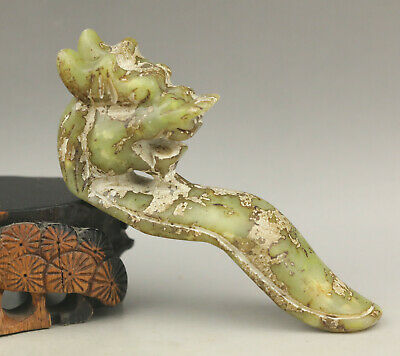 Old Chinese natural jade hand-carved dragon hook