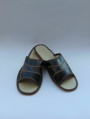 Mens Black soft Leather Slippers*GENUINE EU PRODUCT*size 12